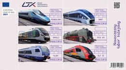 Poland 2021 Modern Trains Railway Block MNH - Blocchi E Foglietti