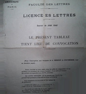 G 25 Facture/document Entete Université De Paris  License De Lettres - Diploma & School Reports