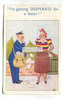 """Woman Aims Gun At Postman - """"I'm Getting Desperate For A Letter"""" - 1953 Used Comic Postcard, Postage Due Stamps - Fumetti"""
