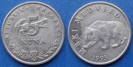 "CROATIA - 5 Kuna 1993 ""brown Bear"" KM# 11 Monetary Reform - Edelweiss Coins - Croatia"
