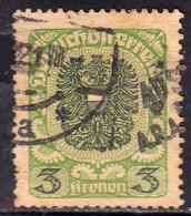 AUSTRIA REPUBBLICA REPUBLIC ÖSTERREICH 1920 1921 ARMS STEMMA ARMOIRIES 3K USED USATO OBLITERE' - Used Stamps