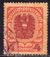 AUSTRIA REPUBBLICA REPUBLIC ÖSTERREICH 1920 1921 ARMS STEMMA ARMOIRIES 4K USED USATO OBLITERE' - Used Stamps