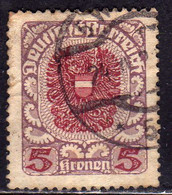 AUSTRIA REPUBBLICA REPUBLIC ÖSTERREICH 1920 1921 ARMS STEMMA ARMOIRIES 5K USED USATO OBLITERE' - Used Stamps