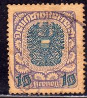 AUSTRIA REPUBBLICA REPUBLIC ÖSTERREICH 1920 1921 ARMS STEMMA ARMOIRIES 10K USED USATO OBLITERE' - Used Stamps