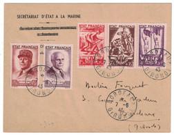 OBLITÉRATION PREMIER JOUR FDC Sur ENVELOPPE Avec BANDE PÉTAIN N° 580A CAD BORDEAUX GIRONDE 7 JUIN 1943 - ....-1949