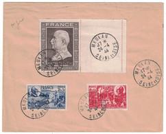 OBLITÉRATION PREMIER JOUR FDC Sur ENVELOPPE Avec TIMBRES PÉTAIN N° 606 607 608 CAD MEULAN SEINE ET OISE 24 AVRIL 1944 - ....-1949