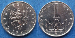 CZECH REPUBLIC - 1 Koruna 1993 KM# 7 Republic Since 1993 - Edelweiss Coins - Czech Republic