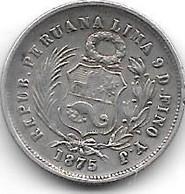 Peru 1dinero 1875  Km 190   Vf+ - Peru