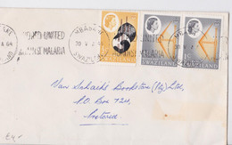 Swaziland Mbabane Lettre Timbre QE II Battle Axe Swazi Shield Stamp Mail Cover Malaria Slogan 1964 - Swaziland (...-1967)