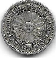 *peru 5 Centavos 1879  Km 197  Xf - Peru