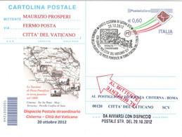 Italia 2012 CISTERNA DI LATINA POSTE PONTIFICIE IN TERRA PONTINA CARROZZA CON CAVALLI Annullo Cartolina Dedicata - Post