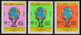 KUWAIT 1979-International Bureau Of Education, 50th Anniv. UNESCO Children Supporting Globe, Set Of 3, MNH, S.G. 839-41 - Kuwait
