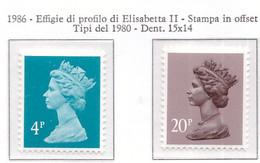 PIA - GRAN BRET - 1986 : Francobolli Di Uso Comune  - Regina Elisabetta -   (Yv 1230+785Ab) - Ungebraucht