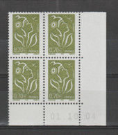 FRANCE / 2005 / Y&T N° 3736 ** : Lamouche ITVF (type I) 0,70 € Vert-olive X 4 - Coin Daté 2004 10 01 ( ) - 2000-2009