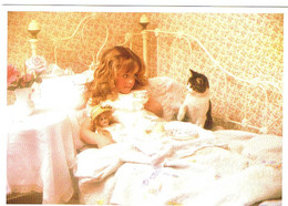 Chat Et Fillette - Kind Met Poesje In Bed    -katze  Kind - Girll With Cat - Chats