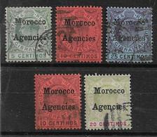 MOROCCO AGENCIES - GIBRALTAR OVERPRINTS 1903 - 1905 5c, 10c, 25c ;1905 - 1906 10c, 20c SG17,18,20,25,26 FINE USED C£40+ - Oficinas En  Marruecos / Tanger : (...-1958