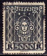 AUSTRIA ÖSTERREICH 1922 1924 1923 ART AND SCIENCE ARTE E SCIENZE 5000K USED USATO OBLITERE' - Used Stamps