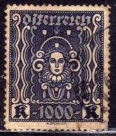AUSTRIA ÖSTERREICH 1922 1924 ART AND SCIENCE ARTE E SCIENZE 1000K USED USATO OBLITERE' - Used Stamps