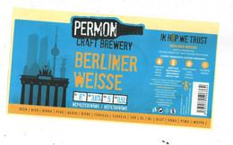 "Czech Republic - Minibrewery Permon In City Sokolov,  ""Berliner Weisse"" Beer,  Self-adhesive - Birra"