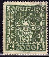 AUSTRIA ÖSTERREICH 1922 1924 ART AND SCIENCE ARTE E SCIENZE 2000K USED USATO OBLITERE' - Used Stamps