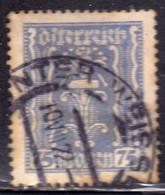 AUSTRIA ÖSTERREICH 1922 1924 LABOR AND INDUSTRY LAVORO E INDUSTRIA 75K USED USATO OBLITERE' - Used Stamps