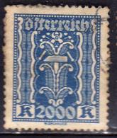 AUSTRIA ÖSTERREICH 1922 1924 1923 LABOR AND INDUSTRY LAVORO E INDUSTRIA 2000K USED USATO OBLITERE' - Used Stamps