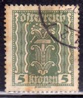 AUSTRIA ÖSTERREICH 1922 1924 LABOR AND INDUSTRY LAVORO E INDUSTRIA 5K USED USATO OBLITERE' - Used Stamps
