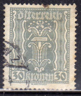 AUSTRIA ÖSTERREICH 1922 1924 LABOR AND INDUSTRY LAVORO E INDUSTRIA 30K USED USATO OBLITERE' - Used Stamps