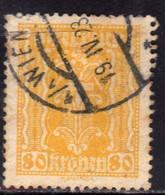 AUSTRIA ÖSTERREICH 1922 1924 LABOR AND INDUSTRY LAVORO E INDUSTRIA 80K USED USATO OBLITERE' - Used Stamps