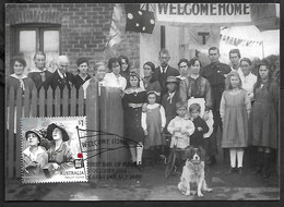 Australia WW1 Maxi Prepaid Stationary Soldier With Family Children Flag Dog Tricycle Velo Bicycle - Enteros Postales