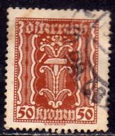 AUSTRIA ÖSTERREICH 1922 1924 LABOR AND INDUSTRY LAVORO E INDUSTRIA 50K USED USATO OBLITERE' - Used Stamps