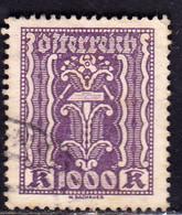 AUSTRIA ÖSTERREICH 1922 1924 1923 LABOR AND INDUSTRY LAVORO E INDUSTRIA 1000K USED USATO OBLITERE' - Used Stamps