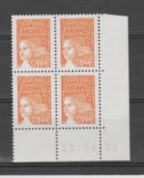 FRANCE / 2002 / Y&T N° 3452 ** : Luquet RF 0.64 € Orange Foncé X 4 - Coin Daté 2002 04 11 ( ) - 2000-2009