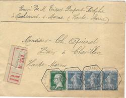 1924 / Lettre Recommandée Rochecourt Sur Marne / 52 Haute-Marne / Pasteur / Cachet Hexagonal X 4 De Rochecourt - 1921-1960: Modern Period