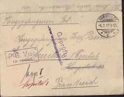 Guerre 14 Prisonnier Allemand En France Ahrweiler 6 12 17 Censure Allemagne + PG Visé 13e Région Pour Hôpital 1 Aurillac - WW I