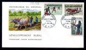 Senegal 0255/57 Fdc Labourage , Charrue à Boeufs , Riziculture , Mil , Gandon - Agriculture