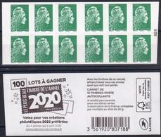 FR 2021-CARNET LV / N° 1598-C?-12t Marianne L'engagée - Variété-défaut Découpe à DroIte-NEUF - Usados Corriente