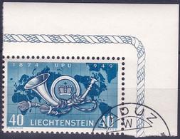 Liechtenstein 1949: 75 Jahre UPU  Zu 227 Mi 277 Yv 242 Mit Bogen-Ecke Und Eck-Stempel VADUZ  (Zumstein CHF 7.00) - Gebraucht