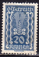 AUSTRIA ÖSTERREICH 1922 1924 SYMBOLS OF AGRICOLTURE 20K USED USATO OBLITERE' - Used Stamps