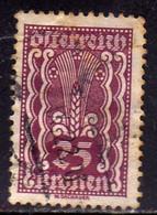 AUSTRIA ÖSTERREICH 1922 1924 SYMBOLS OF AGRICOLTURE 25K USED USATO OBLITERE' - Used Stamps