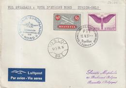 """9SUISSE : VOL SWISSAIR . """" TOUR D'EUROPE NORD """" . ZURICH - OSLO  . 1939 . - Briefe U. Dokumente"""