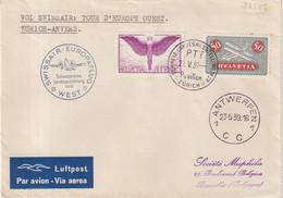 """9SUISSE : VOL SWISSAIR . """" TOUR D'EUROPE NORD """" . ZURICH - ANVERS  . 1939 . - Briefe U. Dokumente"""
