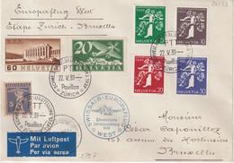 "SUISSE : VOL SWISSAIR . "" TOUR D'EUROPE NORD "" . ZURICH - BRUXELLES  . 1939 . - Briefe U. Dokumente"