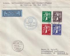 """SUISSE : OBL . """" INTERN . BALLONWETTFLIEGEN """" . 1939 . - Briefe U. Dokumente"""