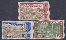 Guyane  N° 118 + 120 + 126A XX Partie De Série : Les 3 Valeurs Sans Charnière, TB - Unused Stamps