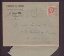 """France, Enveloppe à En-tête """" Lautié """" Fabrique De Rideaux à Bernières-sur-Mer, Du 5 Août 1942 Pour Montargis - Cartas"""