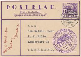 Nederlands Indië - 1936 - 7,5 Cent Karbouwen, Postblad G3 Met 1e Nachtexprestrein Via Soerabaja Van/naar Semarang - Netherlands Indies