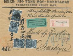 Nederlands Indië - 1910 - 4x 10 Cent Veth Op R-Coverfront / Valeur Déclarée Van VK Temanggoeng Naar Soerabaja - Netherlands Indies