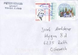 Auslands -Brief Von Briefzentrum 73 Mit 55 Cent Hildegard Knef Eckrandstück + 1300 Jahre Ahrnstadt Randstück 2021 - Storia Postale