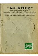 """Enveloppe Publicitaire """"LA SOIE"""" Du 16/10/1909 Affr. 5 C. Au Tarif Imprimé Env. Ouverte Du 1/2/1907 - 1877-1920: Periodo Semi Moderno"""